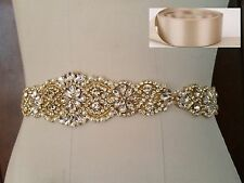 "Wedding Dress Sash Belt -  Gold Crystal Pearl Sash Belt = 14 1/2"" long = TAUPE"