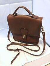 Vintage Coach British Tan Brown 5130 Willis Station leather cross body bag