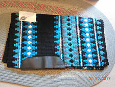 Mayatex Wool Show Saddle Blanket Pad 34x40 Turquoise Blue Black White NEW THICK