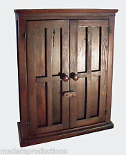 Handcrafted Custom Rustic British Colonial Pine  Red Oak Stain Wood  Cabinet