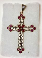 Cross Ruby & White Topaz 925 Middle Eastern Pendant