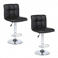 Modern Design Set of 2 Bar Stools Swivel Leather Adjustable Pub Chair In Black
