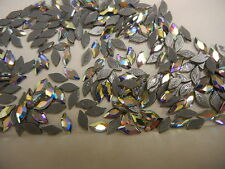 24 swarovski diamond leaf hot-fix flatbacks,8x4mm crystal AB/foiled #2797