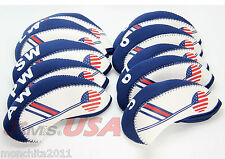 NEW 10 pcs Golf Head Cover Club Iron HeadCovers Protect set Neoprene US USA Flag