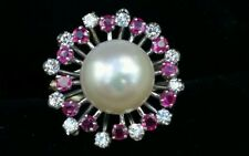 Vintage 14k Gold Diamond Ruby Pearl  Ring Estate Jewelry Ladies 10 mm Pearl