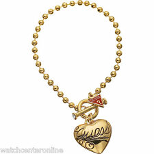New GUESS Jewellery UBB80925 Gold Tone Stainless Steel Ladies Charm Bracelet
