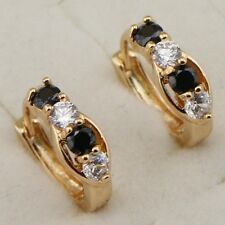 Classy Hot Black & White CZ Jewelry Yellow Gold Filled Huggie Earrings H1910