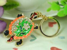 T Green Turtle Keyring Rhinestone Crystal Charm Key Women Bag Chain Pendant Gift