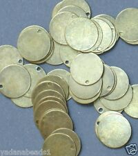 100 pcs of Antiqued Brass Coin Drop 12mm
