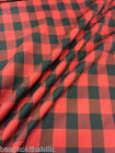 "RED BLACK RECTANGLE WOVEN COTTON 44""W FABRIC DRAPE TABLECLOTH SKIRT QUILT"