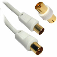 10m RF Fly Lead Coaxial Aerial Cable Digital TV Male to M Extension GOLD - WHITE