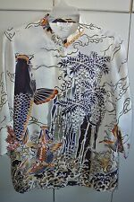 Citron  Womens Large  Fabulous Silk Koi Pond View from the Bottom on White/Mint