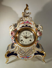 Vintage Dresden Porcelain Applied Floral Footed Clock Case - Movement as is!