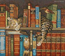 WALL LIBRARY TAPESTRY Frederick the Literate - Wysocki Art EUROPEAN CAT PICTURE