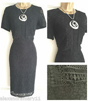 NEW EX STORE BLACK LACE & BRODERIE DETAIL OCCASION SHIFT DRESS 8 10 12 14 16 18