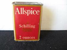 Vintage Schilling's Allspice  Spice Tin , Tin top and bottom cardboard body