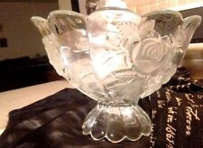 """Vintage Large Crystal Bowl Footed W Scalloped Edge And Frosted Rose Pattern 10"""""""