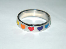 Heart Ring RAINBOW FRIENDSHIP RING Wedding Band Stainless Steel Size 6 FUN! NEW