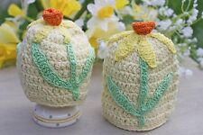 GISELA GRAHAM EASTER EGG HUNT KNITTED DAFFODIL EGG COSY X 2
