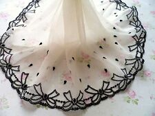 """2Yard~9""""~Black Ivory Venise Embroidered Lace Trim Tulle Bow Tie Wedding Dress"""