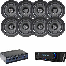 "Pyle AM FM USB SD Home Theater Receiver, 5.25"" In-Ceiling Speakers & Selector"