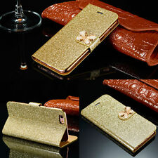 Luxury Bling Diamond Leather Flip Card Slot Wallet Cover Case For Samsung iPhone