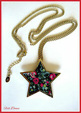 Monsoon Accessorize Chintz FLOWER GOLD STAR CIONDOLO COLLANA. prezzo BIGLIETTO £ 9!!