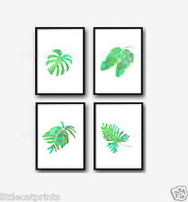 Tropical Palm Leaves Set Of 4 Watercolour Painting PRINT 8x10 Wall Art