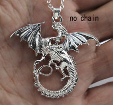 Popular Cool Silver Filled Jewelry Flying Dragon Charms Necklace Nice Pendant