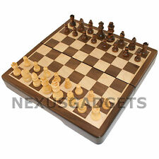 Chess Board Game Set MAGNETIC ROUNDED FOLDING 8 Inch Inlaid Wood Wooden Pieces