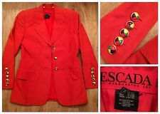 Escada Jacket Blazer Womens Luxury Silk Linen Red VTG Suit Size 36 / 6 FREE SHIP