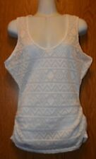 Junior Womens White Eye Candy Semi Sheer Tank Top Shirt Size Medium NWT NEW