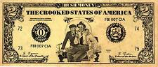 "$2.00 POLITICAL SATIRICAL NOTE ON NIXON ""HUSH MONEY, CROOKED STATES OF AMERICA"""