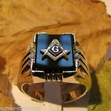 BAGUE HOMME PL/OR 14 K  ONYX & DIAMANTS cz FRANC MACON