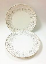 GRACE'S SET OF OF 4,8,12 WHITE+METALLIC POLKA DOTS CONFETTI DESIGN DINNER PLATE