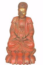 Antique Chinese Red Gold Wood Carved Statue Figure Buddha on Lotus, Qing Dy-,19c