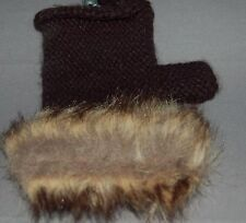 Studio S Ladies Texting Fingerless Black Knit Gloves With Faux Fur Cuff Trim NWT