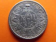 "George VI King Emperor 1/4 Rupee ""1940"" Calcutta Mint Original Silver Coin"