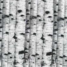 STILL OF THE NIGHT SILVER BIRCH TREES FABRIC METALLIC