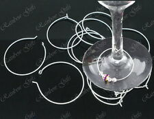 SAMPLE PACK 4 SILVER PLATED WINE GLASS CHARM RINGS EARRING HOOPS