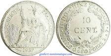 INDOCHINE  ,  10  CENT    ARGENT  1937  A  PARIS  ,  SUPERBE 8