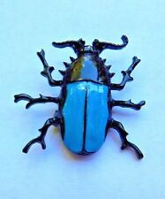 BLACK & BLUE SCARAB BEETLE BROOCH enamel pin Egyptian Ra insect bug G4