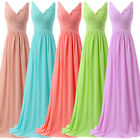 Sexy V neck Long Chiffon Formal Evening Gown Dress Bridesmaid Party Prom Dresses