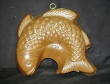 Old Vintage Copper Tin Mold Classic Fish Wall Hanging Country Kitchen Tool Decor