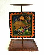 """Candle Plant Stand MARSHA MCCARTHY for SILVESTRI """"Amazonia"""" Hand Painted 7-1/2"""""""