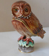 Short Eared Owl Trinket Box 2010 From Arora Collectors Club RETIRED RARE NIB