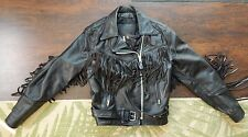 Branded Garments Inc / Fringed Black Leather Jacket / Size 16 / Gently Pre-Owned