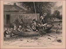 CHILDREN Play in Row Boat, Columbus Discovering America, antique engraving 1875