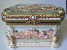 ANTIQUE HAND PAINTED FRENCH PORCELAIN TRINKET JEWELRY BOX W/ CROWN OVER 'N' MARK