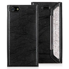 Leather With Rhinestone Wallet Case For iPhone 5 & 5S